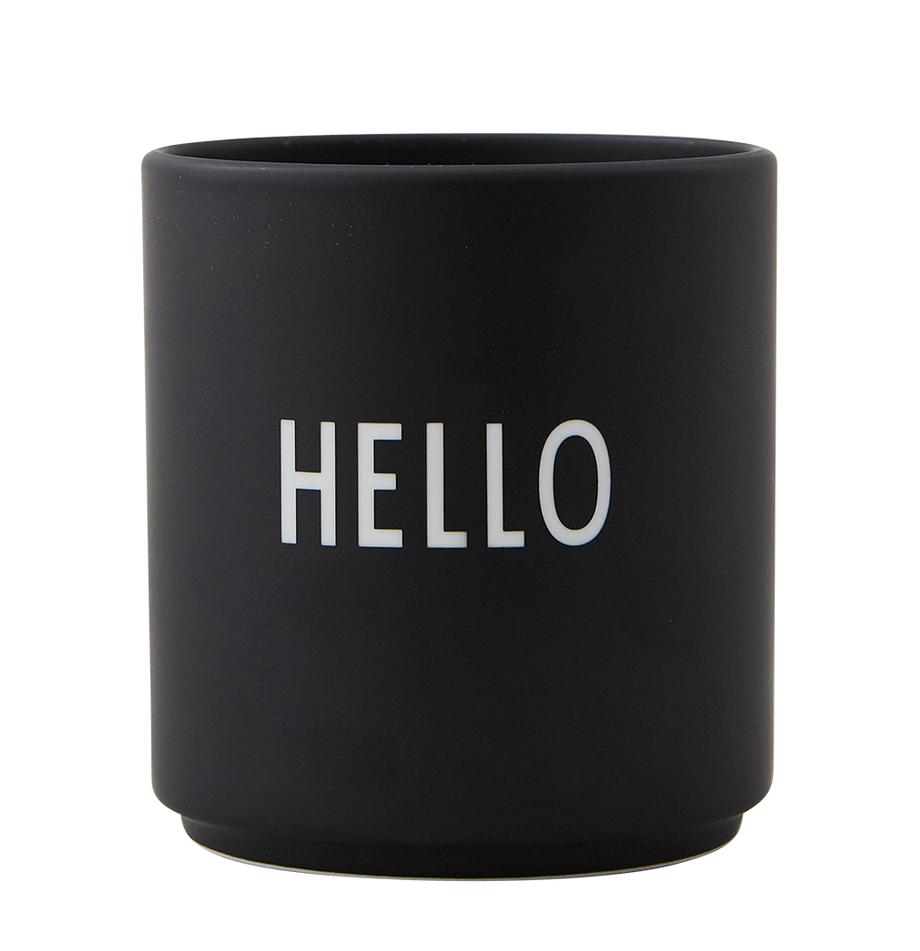 Tazza di design nera Favourite HELLO, Fine Bone China (porcellana) Fine bone china è una porcellana a pasta morbida particolarmente caratterizzata dalla sua lucentezza radiosa e traslucida, Nero, bianco, Ø 8 x Alt. 9 cm