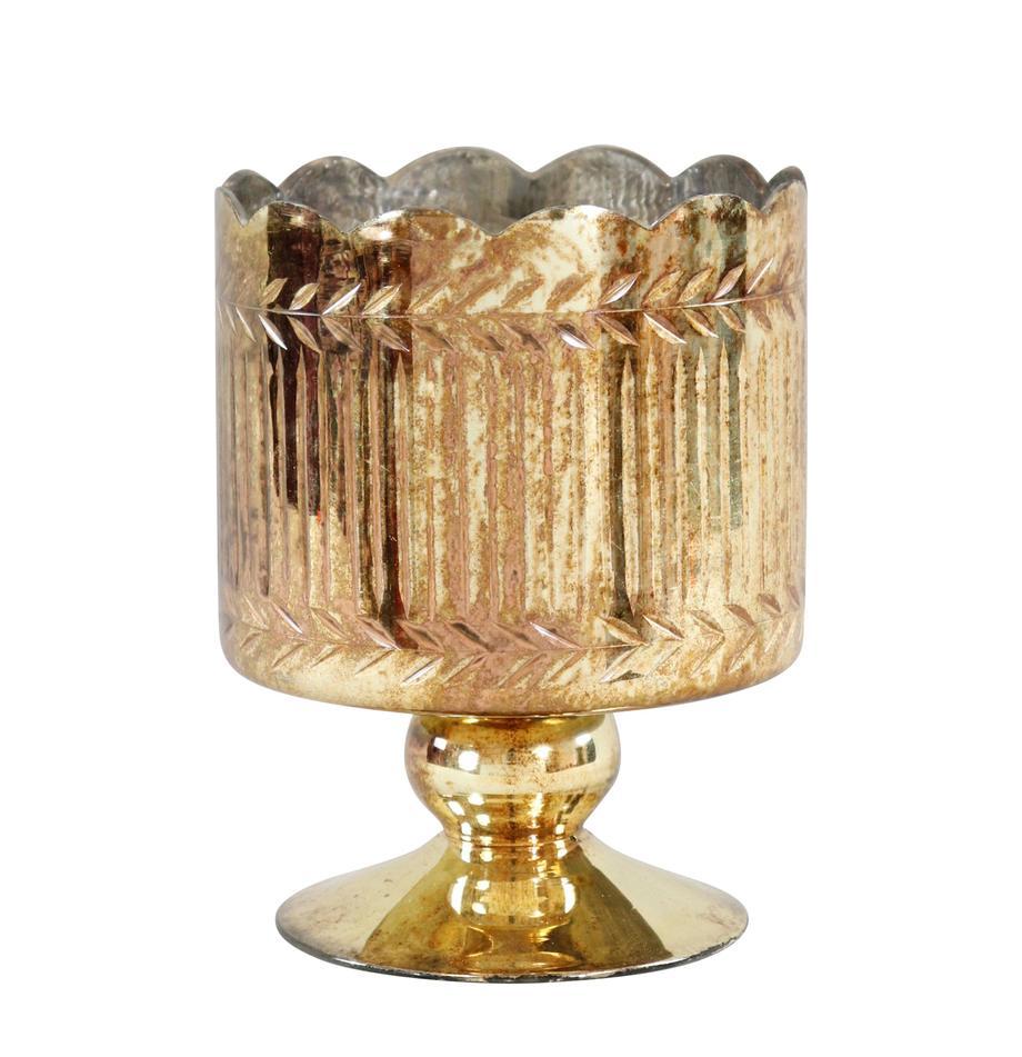 Teelichthalter Castello , Glas, Goldfarben, Ø 13 x H 16 cm