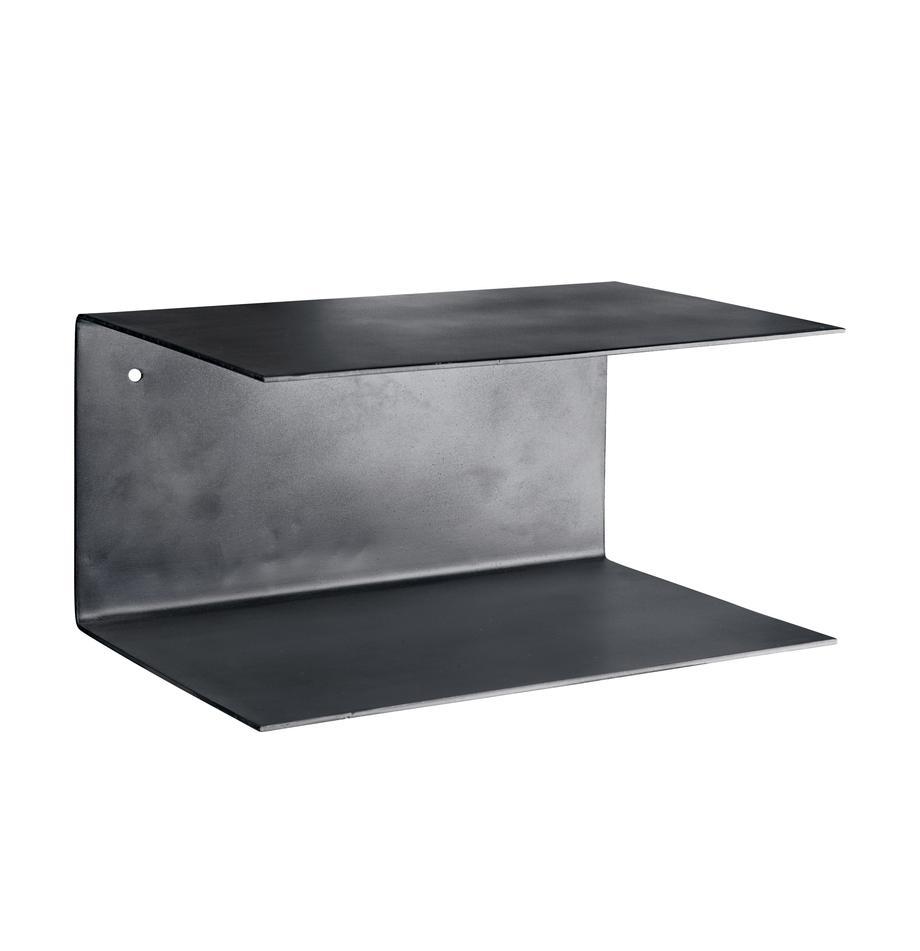 Wandplanken Phantom van metaal, 2 stuks, Gelakt metaal, Zwart, 30 x 15 cm