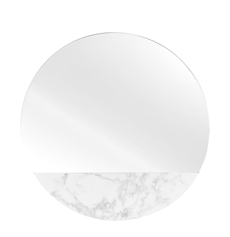 Runder Wandspiegel Stockholm in Marmoroptik, Rahmen: Melamin, Spiegelfläche: Spiegelglas, Rückseite: Mitteldichte Holzfaserpla, Weiss marmoriert, Ø 40 cm