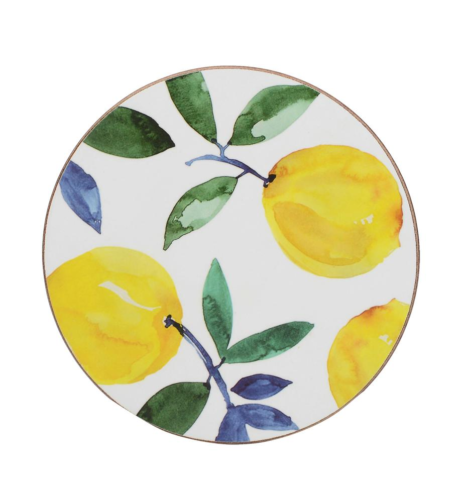 Sottobicchiere Lemons 4 pz, Sughero, Bianco, giallo, verde, Ø 12 cm