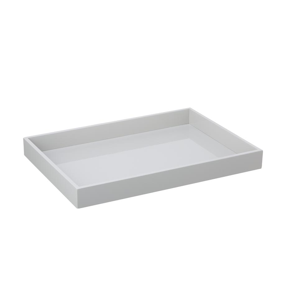 Hochglanz-Tablett Hayley in Grau, B 35 x L 50 cm, Tablett: Mitteldichte Holzfaserpla, Unterseite: Samt, Hellgrau, Unterseite: Hellgrau, 35 x 50 cm