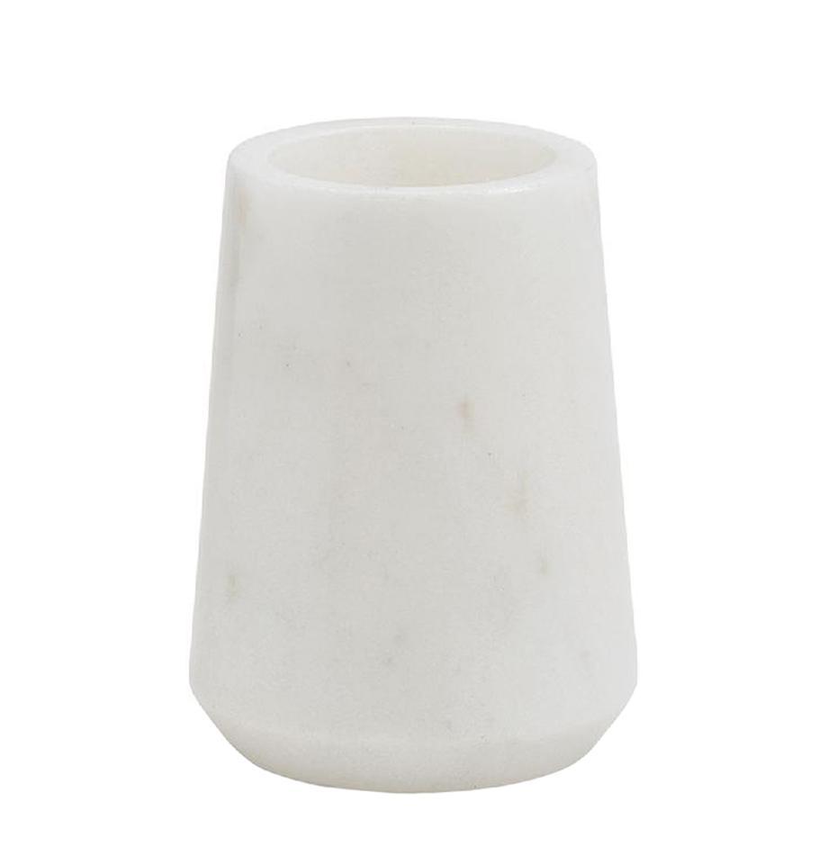 Marmeren tandenborstelbeker Lux, Marmer, Wit, Ø 9 x H 11 cm