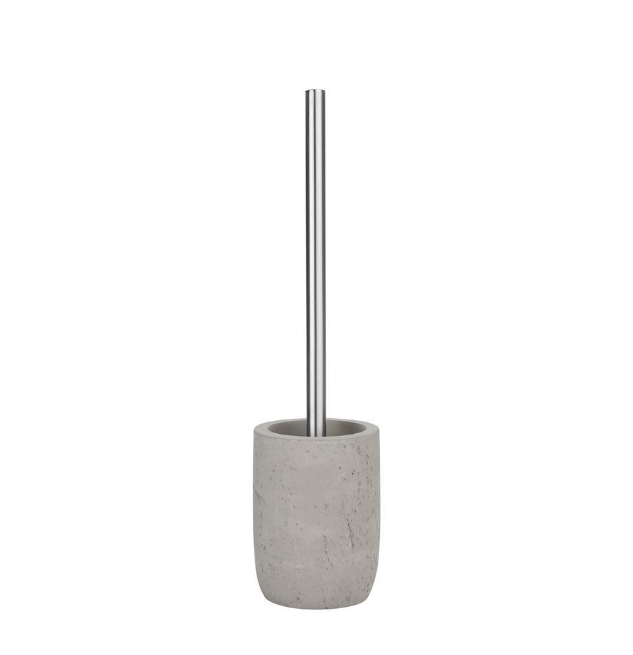 Toilettenbürste Belmont, Behälter: Beton, Griff: Metall, Grau, Ø 10 x H 40 cm