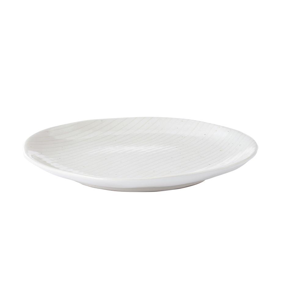 Ręcznie wykonany talerz śniadaniowy Copenhagen, 4 szt., Kamionka, Kość słoniowa z cienkimi, jasny beżowymi paskami, Ø 20 x W 2 cm
