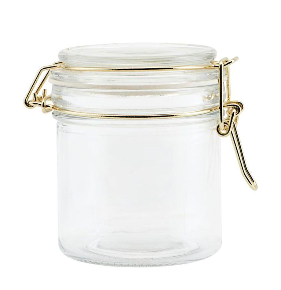 Aufbewahrungsdose Vario mit goldenen Applikationen, Ø 8 x H 10 cm, Dose: Glas, Verschluss: Edelstahl, beschichtet, Transparent, Messingfarben, Ø 8 x H 10 cm