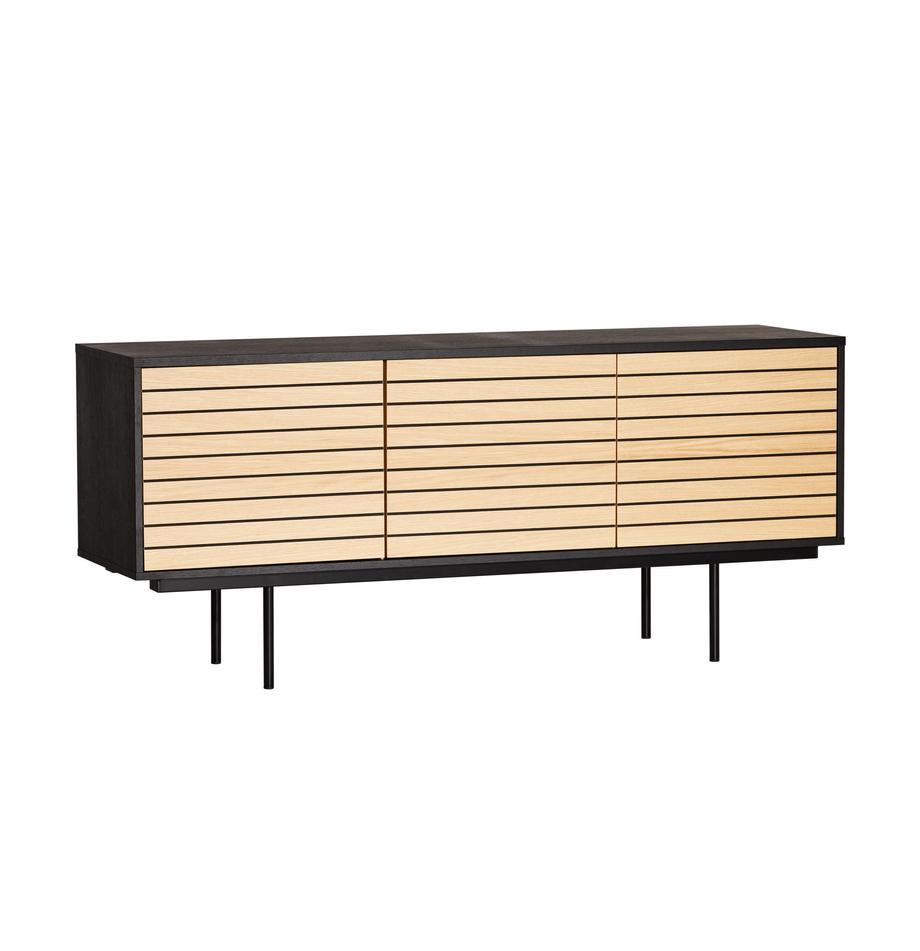 Sideboard Stripe mit Eichenholzfurnier, Korpus: Mitteldichte Holzfaserpla, Eichenholz, Schwarz, 161 x 70 cm