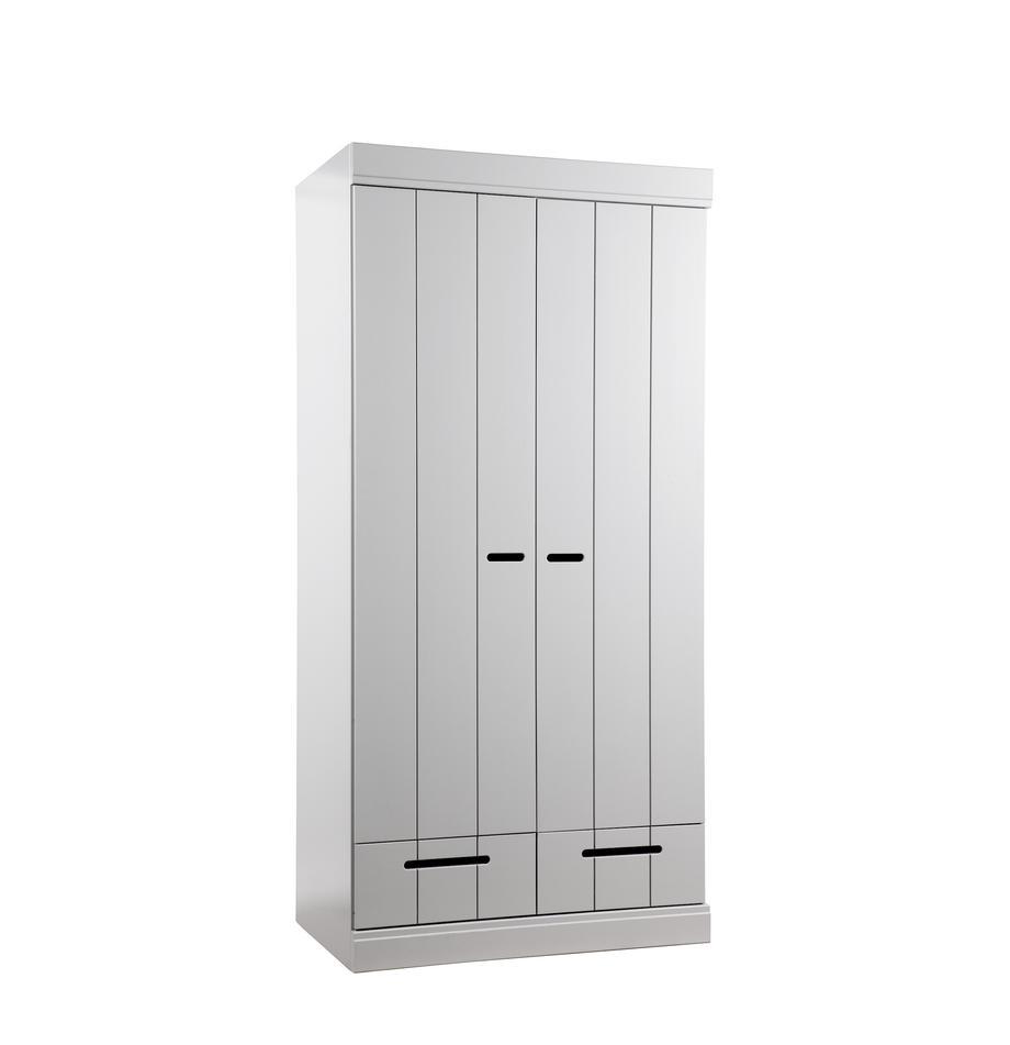 Kleiderschrank Connect mit 2 Türen in Hellgrau, Korpus: Kiefernholz, massiv, lack, Einlegeböden: Melamin, Griffe: Metall, lackiert, Betongrau, 94 x 195 cm