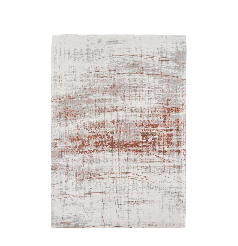 Vloerkleed Griff, Bovenzijde: 85%katoen, 15%hoogglanz, Weeftechniek: jacquard, Onderzijde: katoenmix, gecoat met lat, Bovenzijde: grijs, koperkleurig, gebroken wit, B 140 x L 200 cm (maat S)