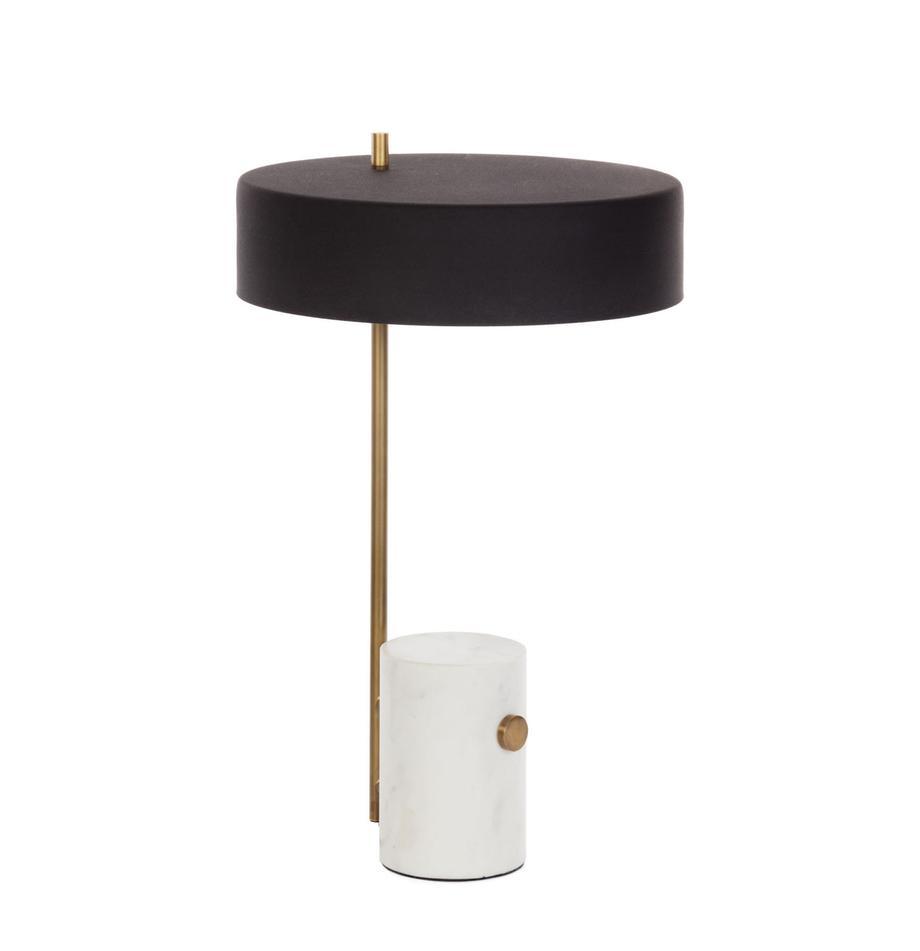 Lampa stołowa z marmurową podstawą Phant, Biały, czarny, S 30 x D 53 cm