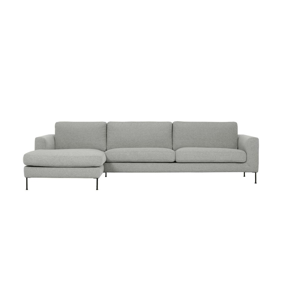 Ecksofa Cucita (4-Sitzer) in Hellgrau mit Metall-Füßen, Bezug: Webstoff (Polyester) Der , Gestell: Massives Kiefernholz, Füße: Metall, lackiert, Webstoff Grau, B 302 x T 163 cm