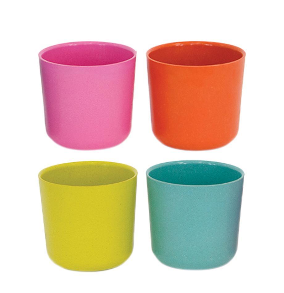 Set de tazas Bambino Pop, 4pzas., Fibras de bambú, melamina, apto para alimentos Libre de BPA, PVC y ftalatos, Turquesa, verde, rosa, rojo coral, 250 ml