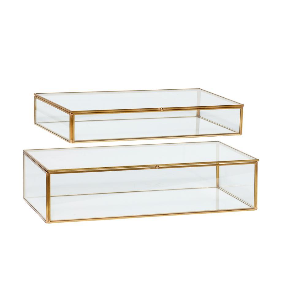 Opbergdozenset Karia, 2-delig, Frame: messing, Doos: glas, Messingkleurig, transparant, Set met verschillende formaten