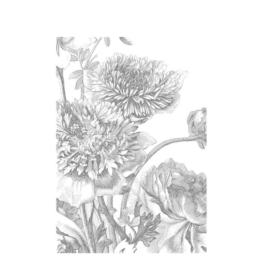 Carta da parati Engraved Flowers, Vello, ecologico e biodegradabile, Grigio, bianco, Larg. 195 x Alt. 280 cm