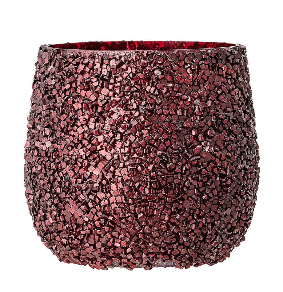 Teelichthalter Asa, Glas, Rot, Ø 10 x H 10 cm