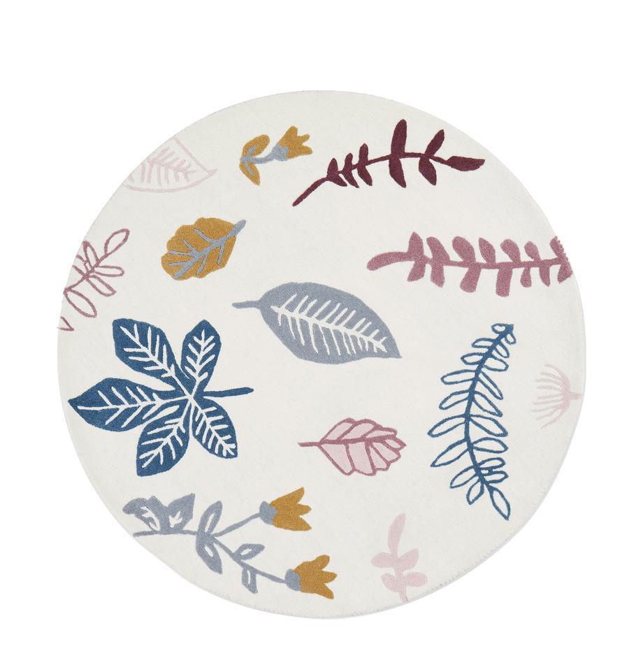 Tappeto di lana Pressed Leaves, Lana, Crema, rosa, blu, grigio, giallo, Ø 110 cm