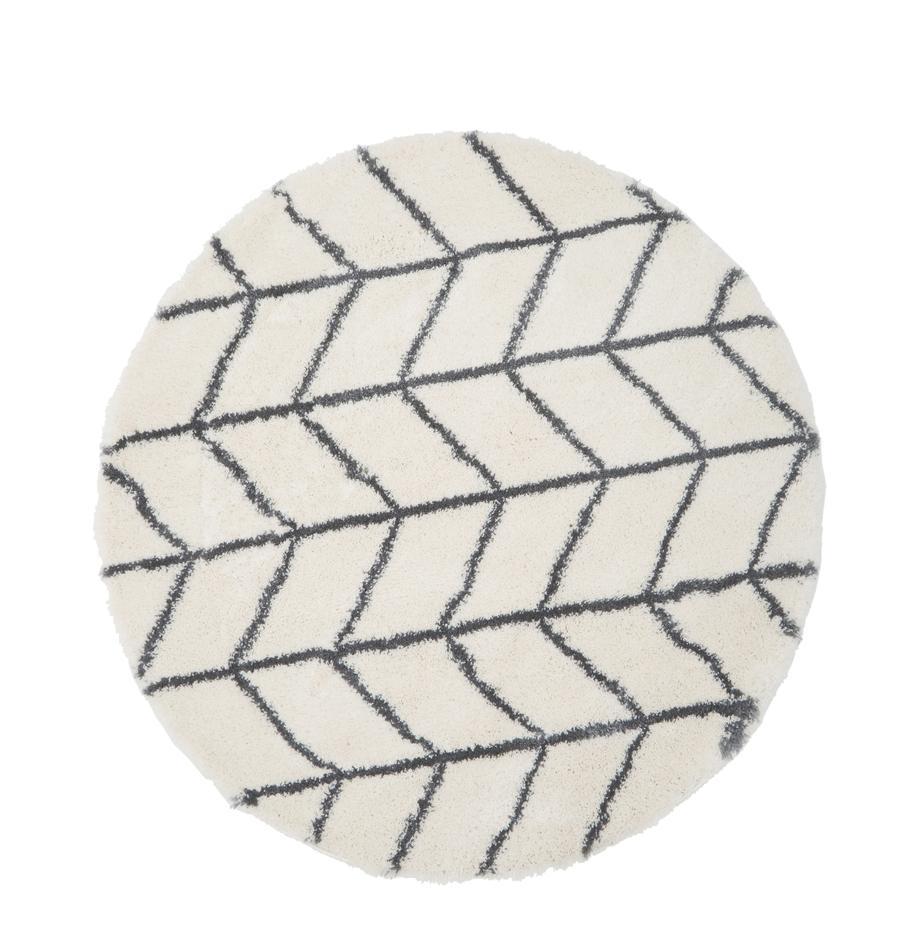 Tappeto soffice a pelo lungo bianco crema/grigio scuro Cera, Retro: 78% juta, 14% cotone, 8% , Bianco crema, grigio scuro, Ø 150 cm (taglia M)