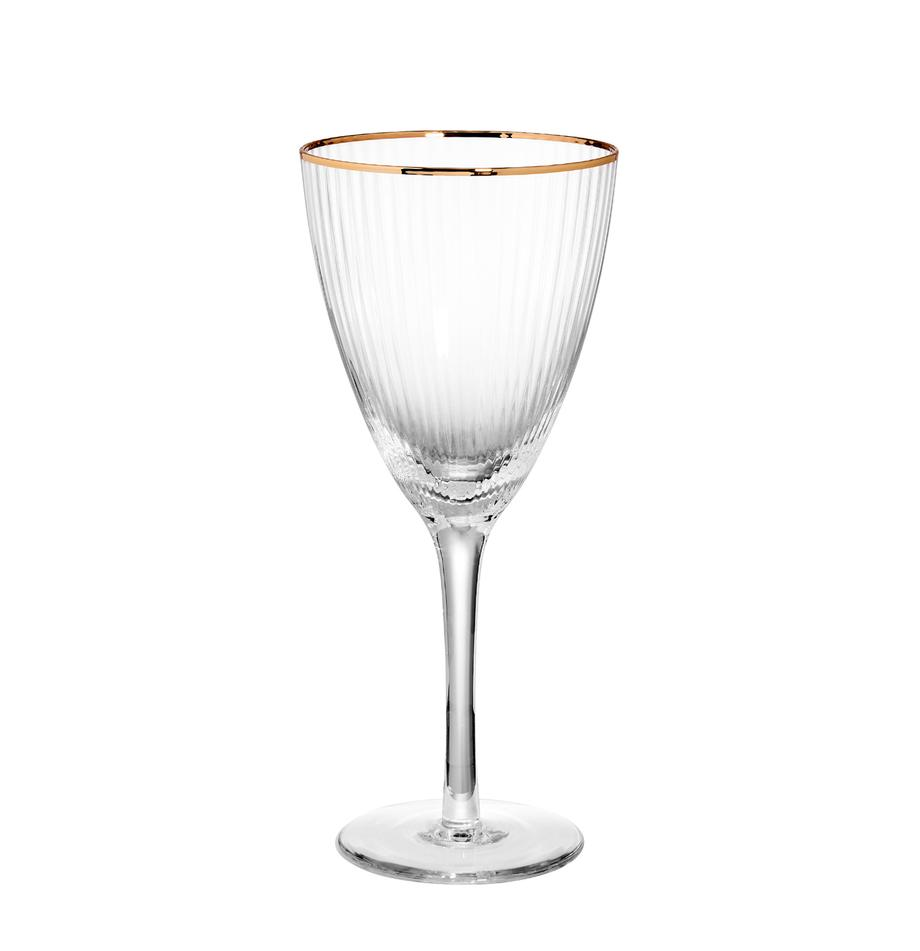 Bicchiere da vino con bordo dorato Golden Twenties 4 pz, Vetro, Trasparente, Ø 9 x Alt. 22 cm