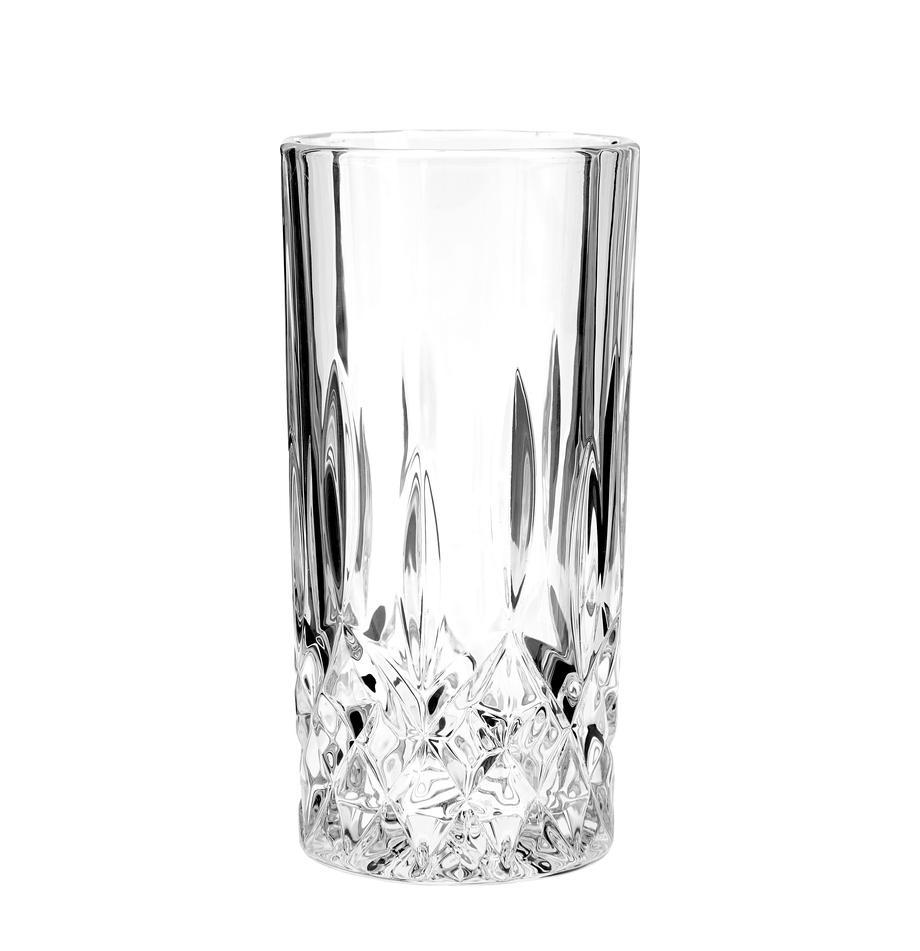 Longdrinkglazen George met kristalreliëf, 4 stuks, Glas, Transparant, Ø 8 x H 14 cm