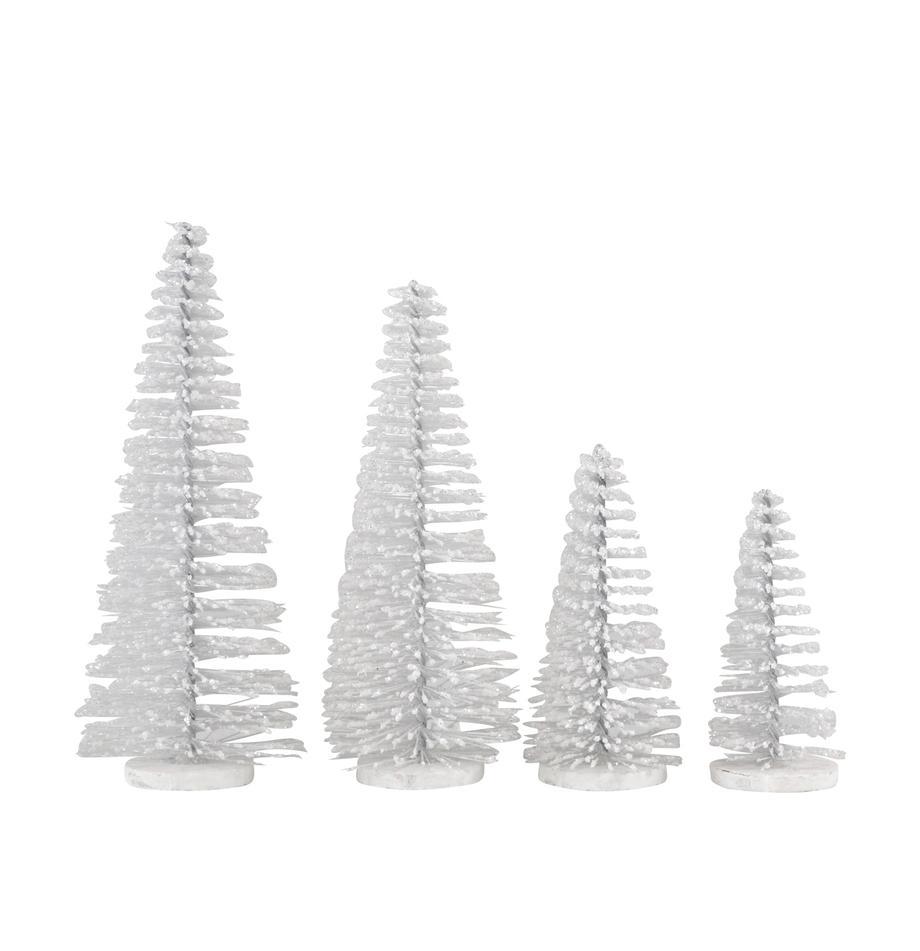Komplet dekoracji Glam, 4-elem., Tworzywo sztuczne, metal, Biały, Komplet z różnymi rozmiarami
