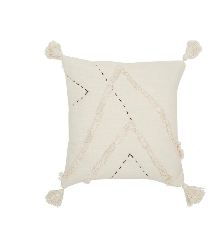 Kissenhülle Lienzo mit Hoch-Tief-Muster, 100% Baumwolle, Gebrochenes Weiss, 45 x 45 cm