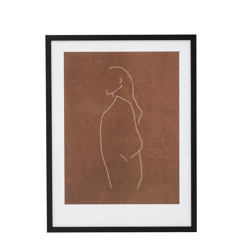 Ingelijste digitale print Espen, Lijst: hout, Zwart, greige, wit, 32 x 42 cm
