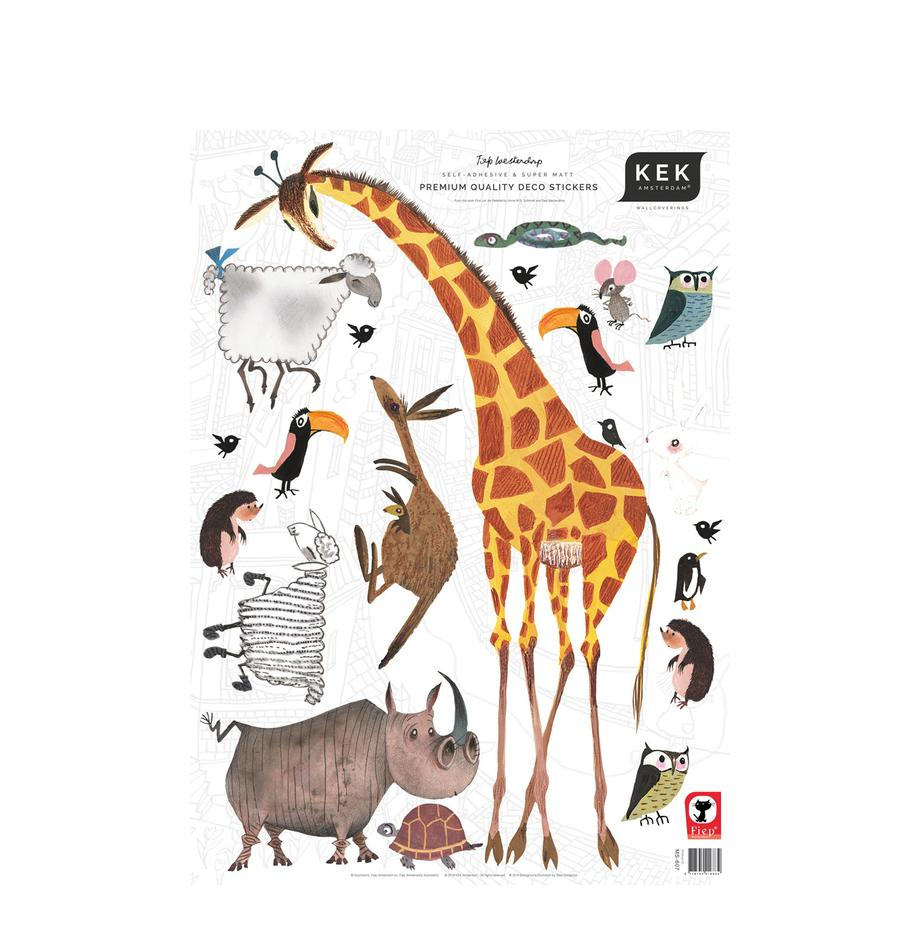 Wandstickersset Animals, 20-delig, Zelfklevende vinyl folie, mat, Multicolour, 42 x 59 cm