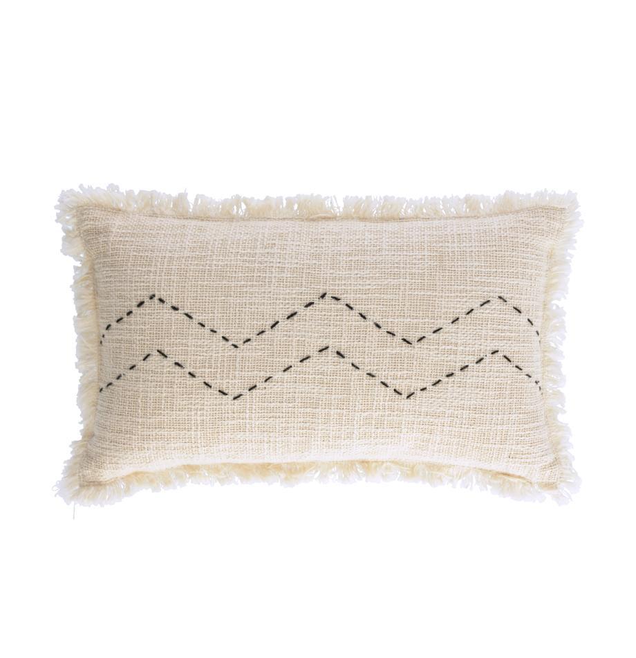 Federa arredo con superficie strutturata e frange Seila, 100% cotone, Beige, Larg. 30 x Lung. 50 cm