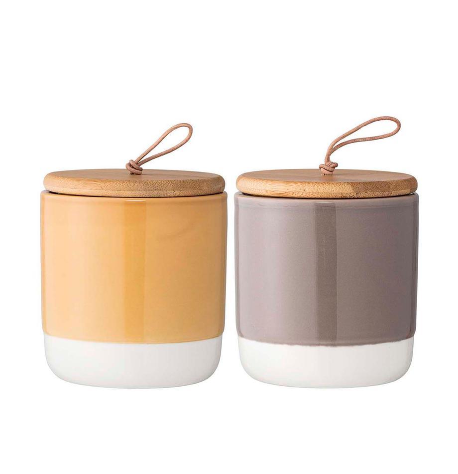 Set de tarros Starni, 2pzas., Amarillo, gris, marrón, Ø 10 x Al 11 cm