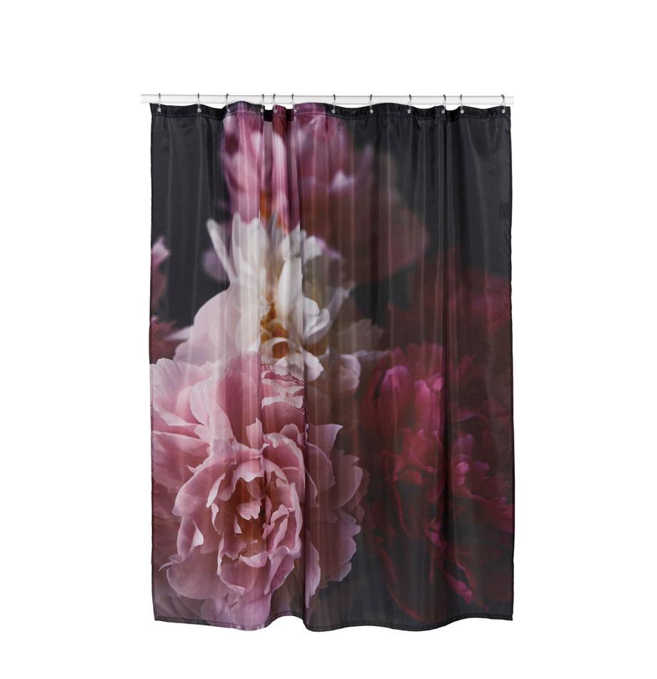 Douchegordijn Rosemarie, 100% polyester Waterafstotend, niet waterdicht, Zwart, rozetinten, 180 x 200 cm