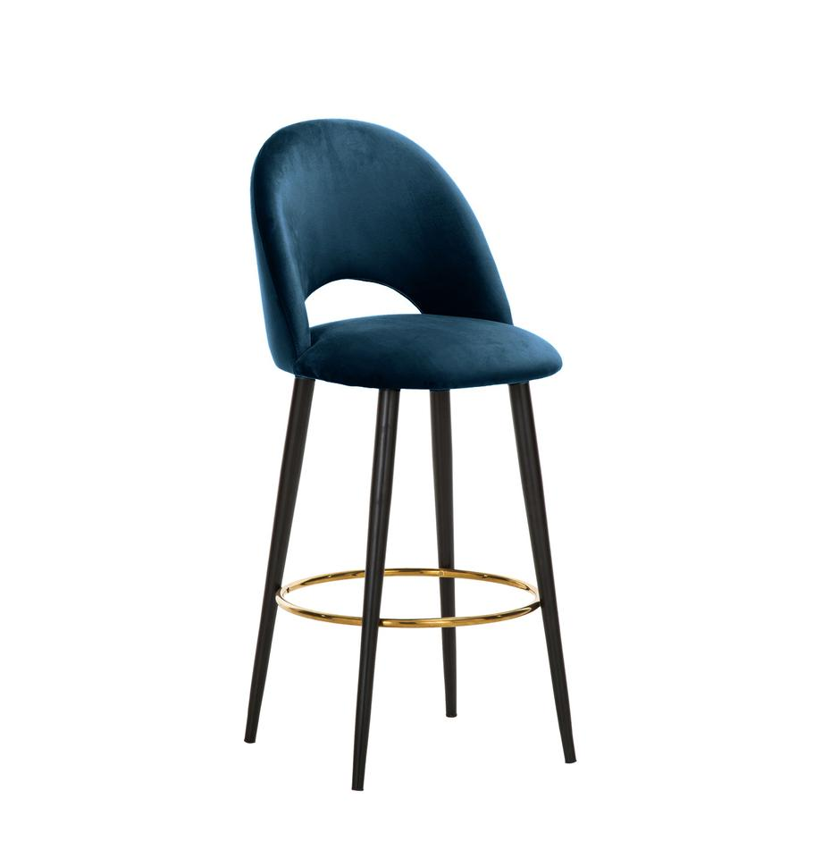 Taburete de bar de terciopelo Rachel, Tapizado: terciopelo (poliéster) 50, Patas: metal con pintura en polv, Terciopelo azul oscuro, An 48 x Al 110 cm