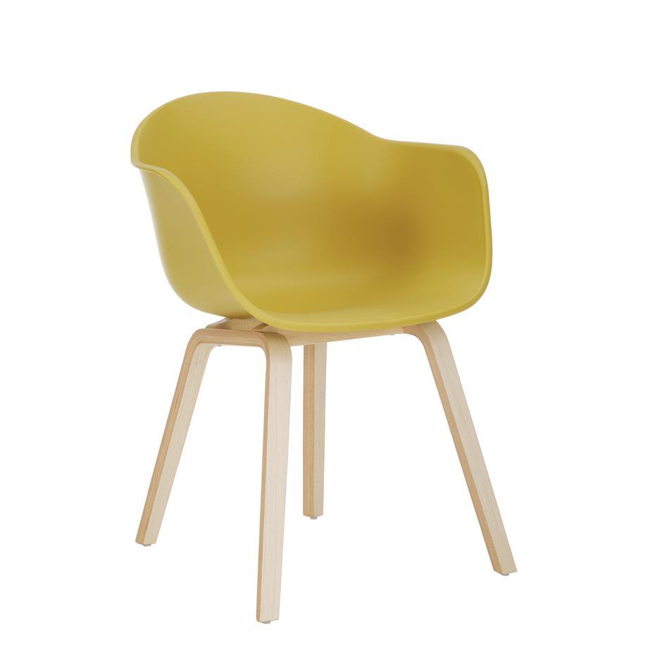 Sedia con braccioli con gambe in legno Claire, Seduta: materiale sintetico, Gambe: legno di faggio, Materiale sintetico giallo, Larg. 60 x Prof. 54 cm