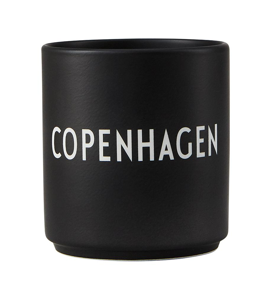 Tazza di design nera Favourite COPENHAGEN, Fine Bone China (porcellana), Nero, bianco, Ø 8 x Alt. 9 cm