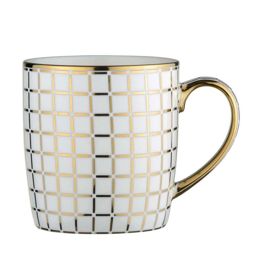 Tazas Lattice, 4uds., Porcelana, Blanco, dorado, Ø 9 x Al 10 cm