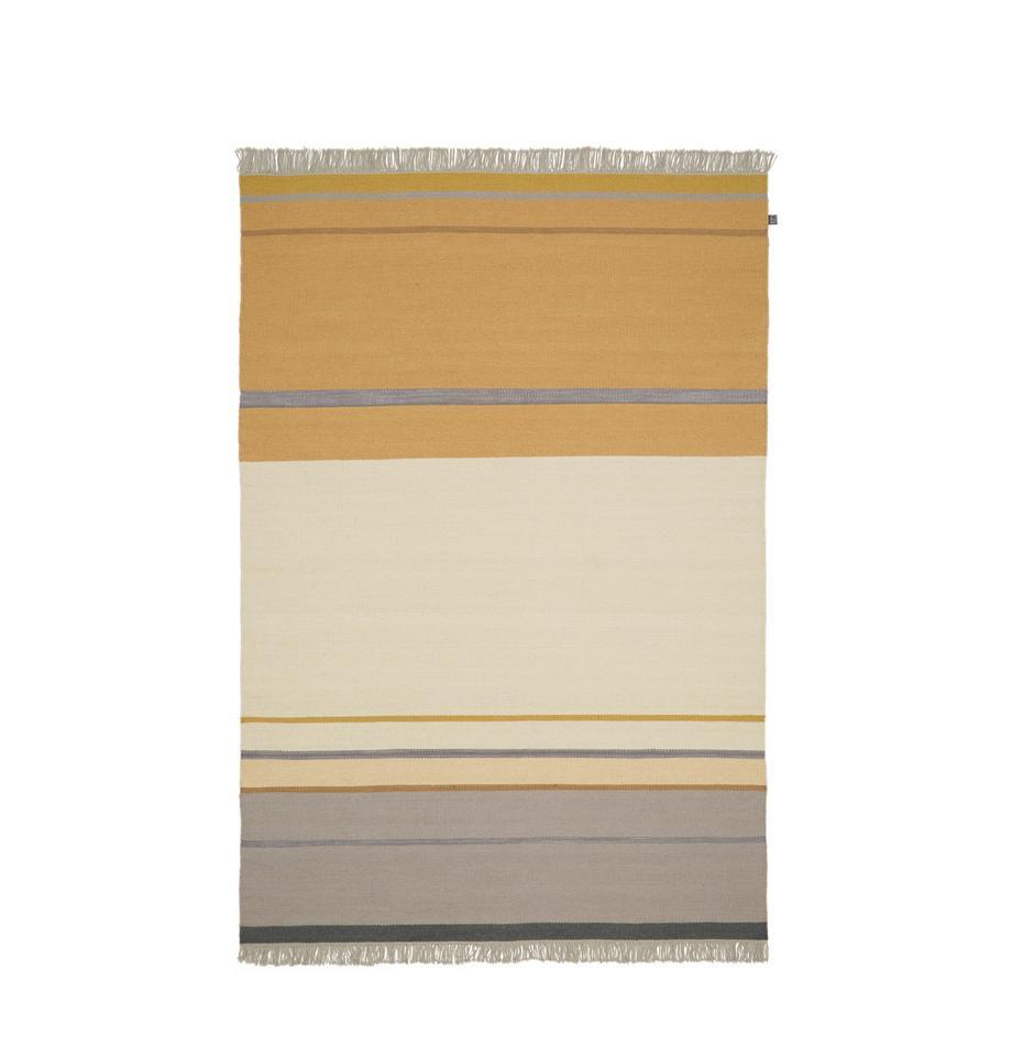 Alfombra artesanal de lana con flecos Metallum, Multicolor, An 140 x L 200  cm(Tamaño S)