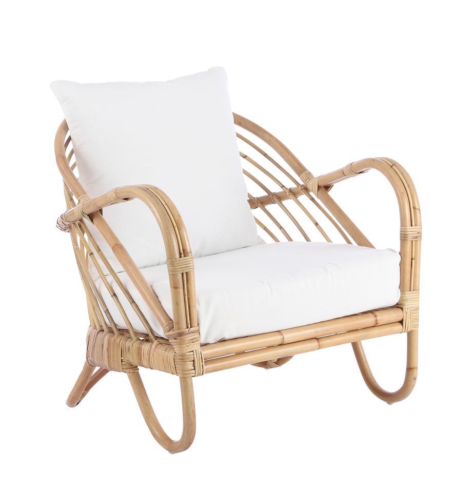 Fotel wypoczynkowy z rattanu Rochester, Stelaż: rattan, Tapicerka: poliester, Rattan, biały, S 75 x G 80 cm