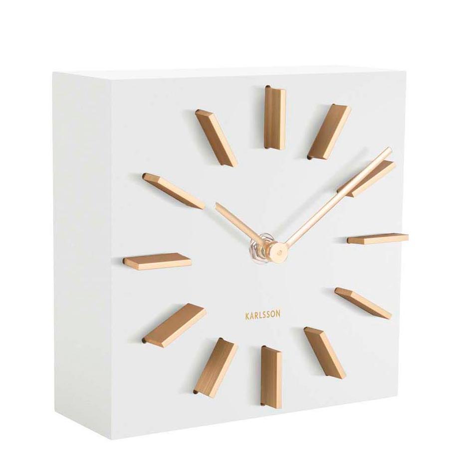 Tischuhr Discreet, Mitteldichte Holzfaserplatte (MDF), Weiss, Goldfarben, 15 x 15 cm