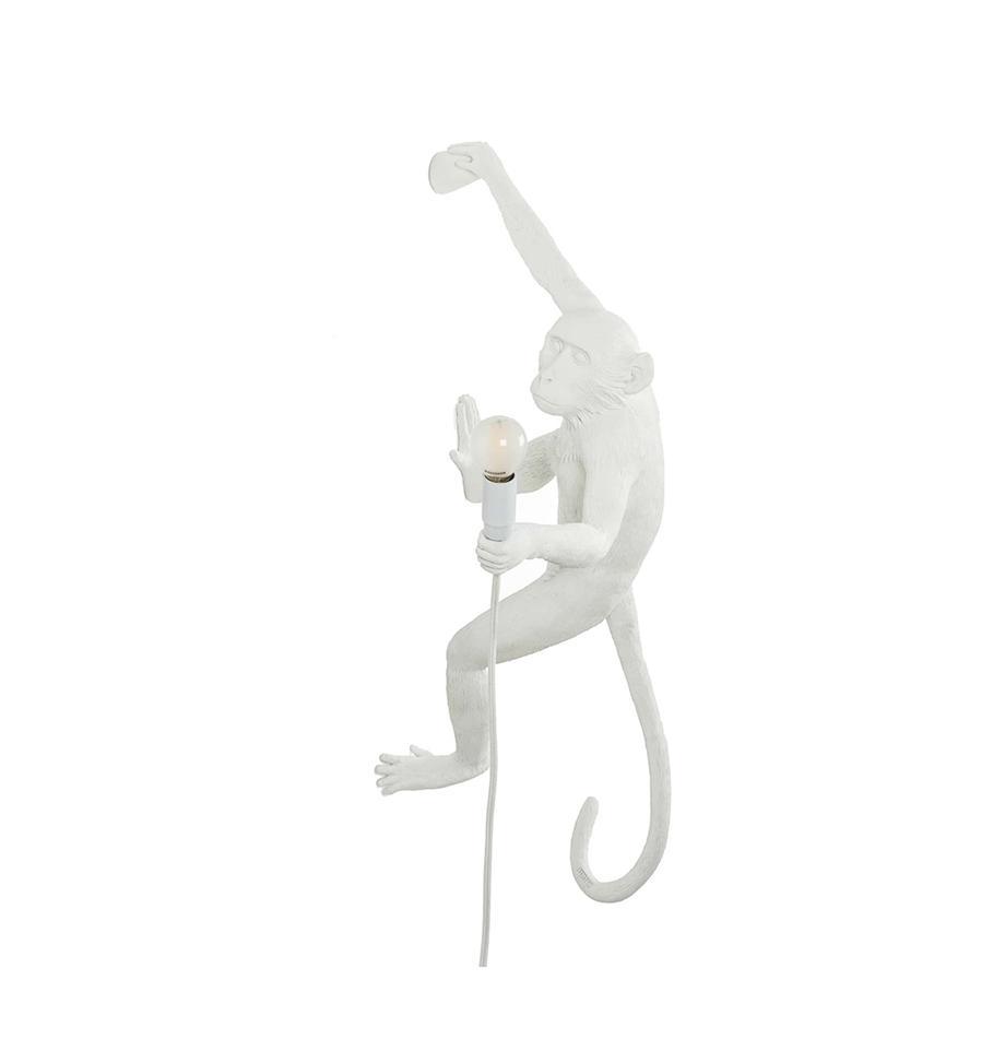 Kinkiet z wtyczką The Monkey, Poliresing, Biały, S 21 x W 77 cm