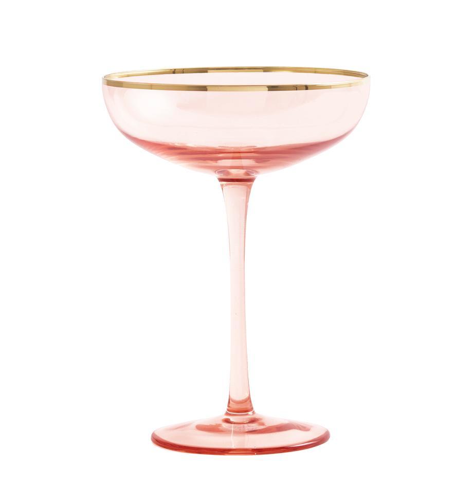 Copas de champán Goldie, 6uds., Vidrio, Rosa, dorado, Ø 12 x Al 17 cm