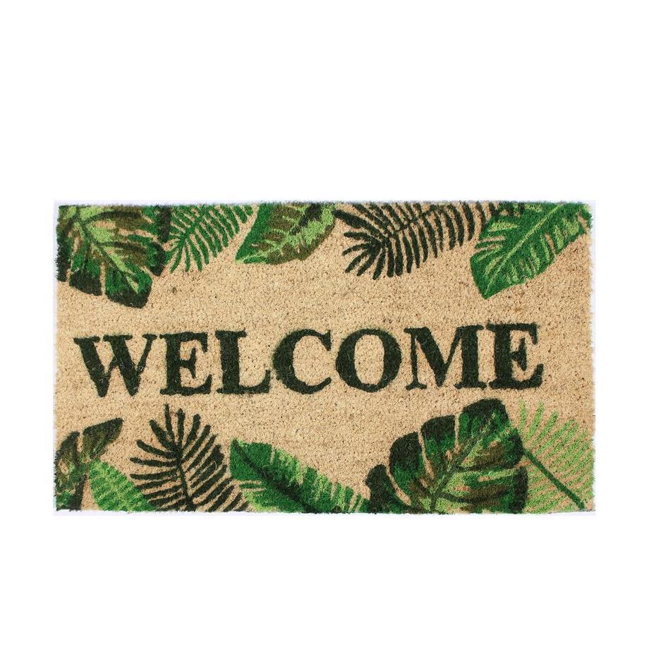 Wycieraczka Welcome, Beżowy, odcienie zielonego, S 40 x D 70 cm