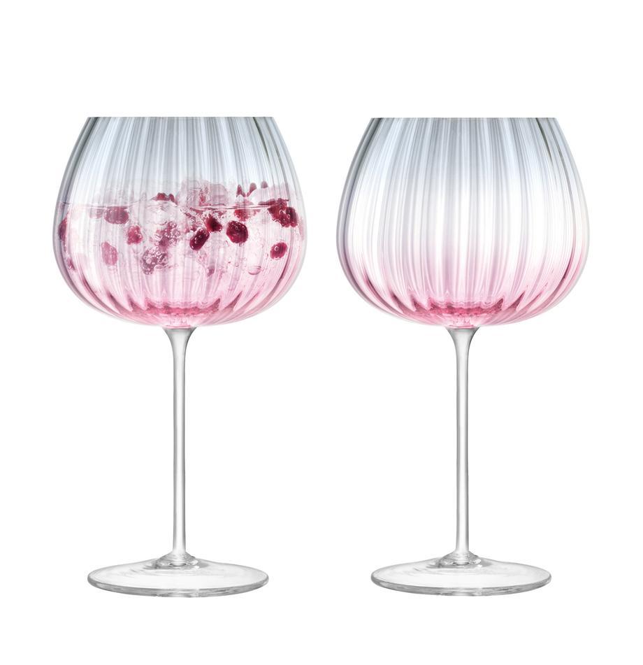 Komplet ręcznie wykonanych kieliszków do wina Dusk, 2 elem., Szkło, Blady różowy, szary, Ø 10 x W 20 cm