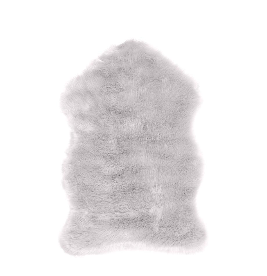 Kunstfell Mathilde, glatt, Vorderseite: 65% Acryl, 35% Polyester, Rückseite: 100% Polyester, Hellgrau, 60 x 90 cm