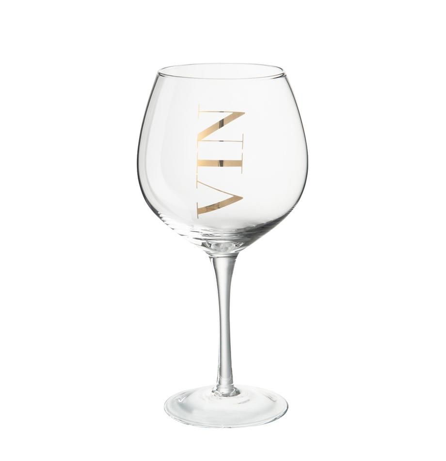 Weingläser Vin mit Aufschrift, 6er-Set, Glas, Transparent, Goldfarben, Ø 10 x H 20 cm