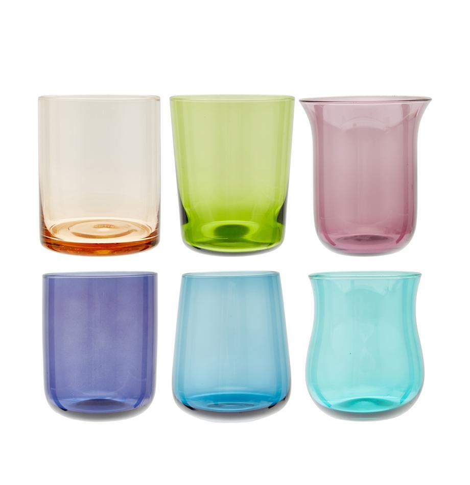 Mundgeblasene bunte Wassergläser Desigual in unterschiedlichen Formen, 6er-Set, Glas, mundgeblasen, Mehrfarbig, Ø 8 x H 10 cm