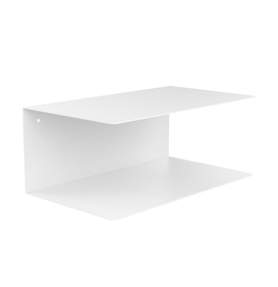 Mensole in metallo Newton 2 pz, Acciaio verniciato, Bianco, Larg. 35 x Alt. 14 cm