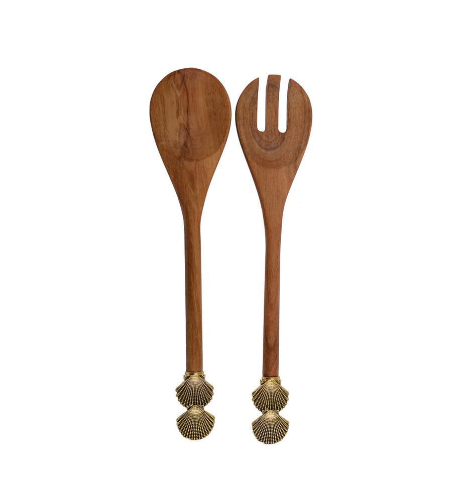 Set 2 posate da insalata in legno con conchiglie dorate sul manico Shell, Legno, metallo, Legno, dorato, Lung. 25 cm