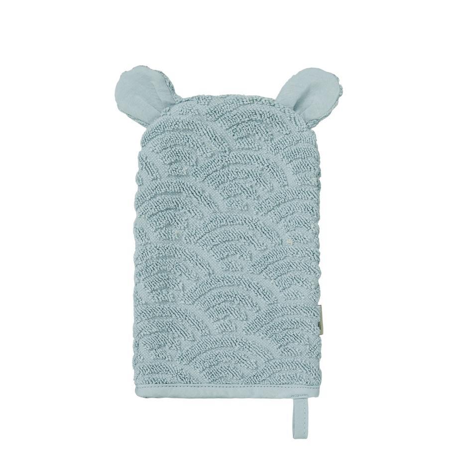 Guanto per bagnetto in cotone organico Wave, 100% cotone organico, Blu, Larg. 15 x Lung. 22 cm