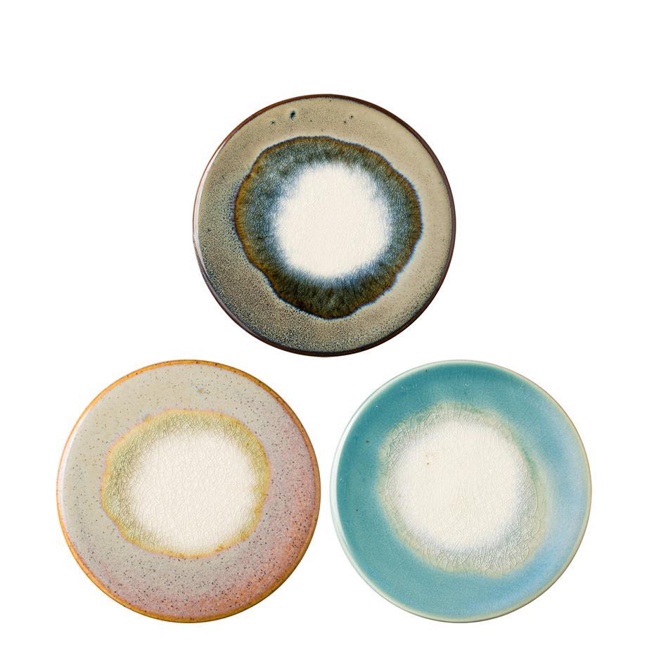 Posavasos de cerámica Felicitas, 3uds., Azul, tonos marrones, tonos rosas, tonos verdes, Ø 11 x Al 1 cm