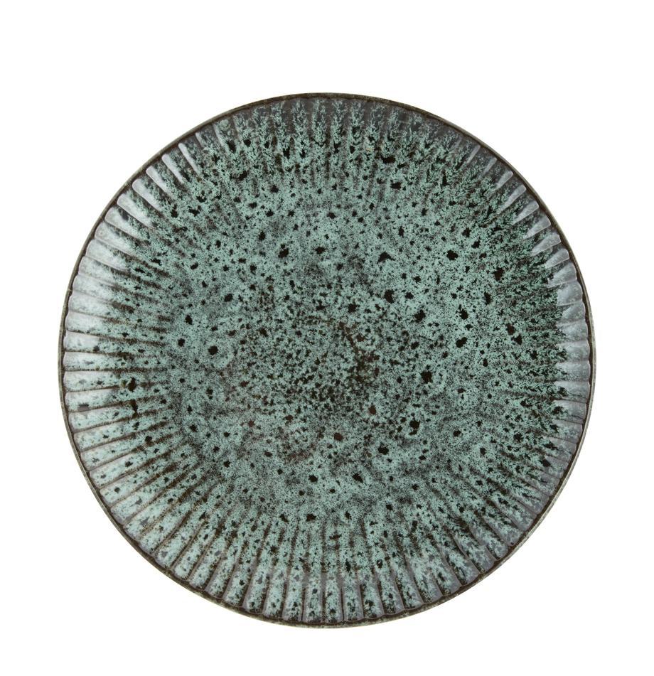 Piatto piano in gres blu verde/nero Vingo 2 pz, Gres, Blu verde, nero, Ø 28 cm
