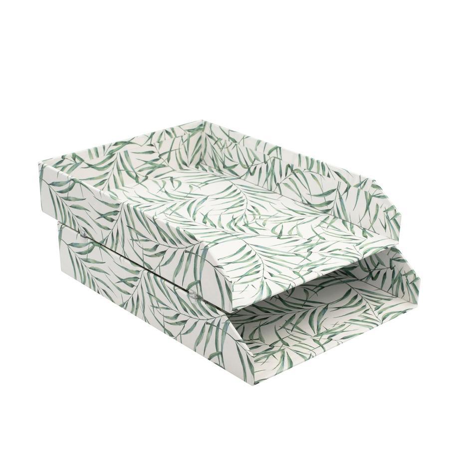 Organizer per documenti Breeze 2 pz, Solido, cartone laminato, Bianco, verde, Larg. 23 x Prof. 31 cm